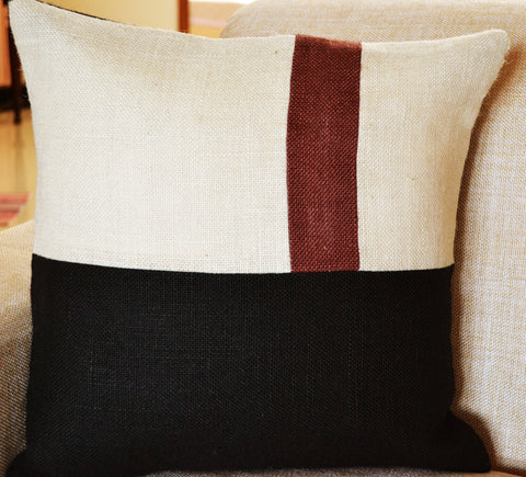 Handmade burlap accent pillow cover with geometric color block