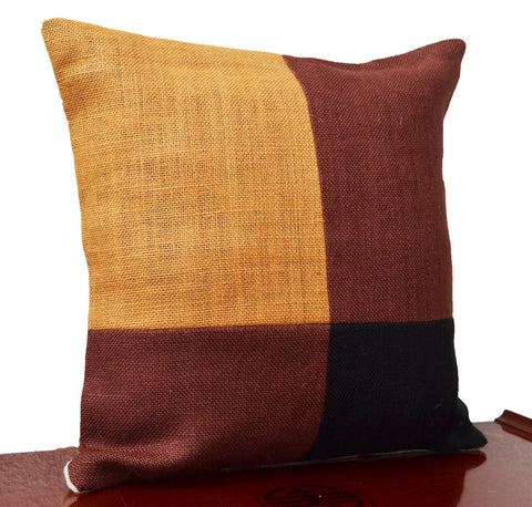 Handmade throw pillows with black mustard color block