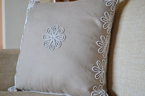 Handmade linen pillow cover with pearl crystal embroidery