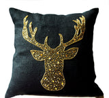 Handmade pillows with deer design and gold sequin embroidery