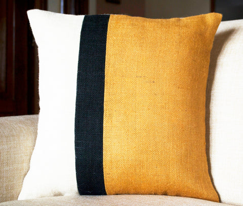 Handmade burlap throw pillows in mustard color