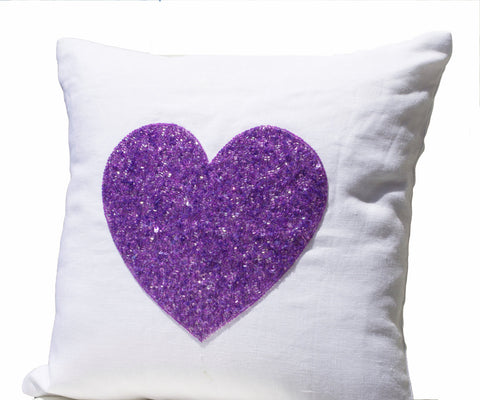 Handmade white linen pillow cover with purple sequin