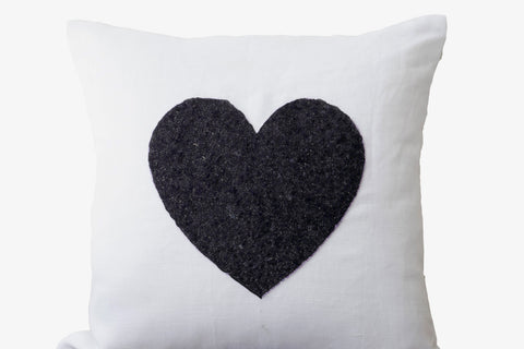 Handmade white linen throw pillow with black heart sequin