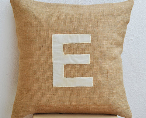 Burlap ivory velvet throw pillows with monogram