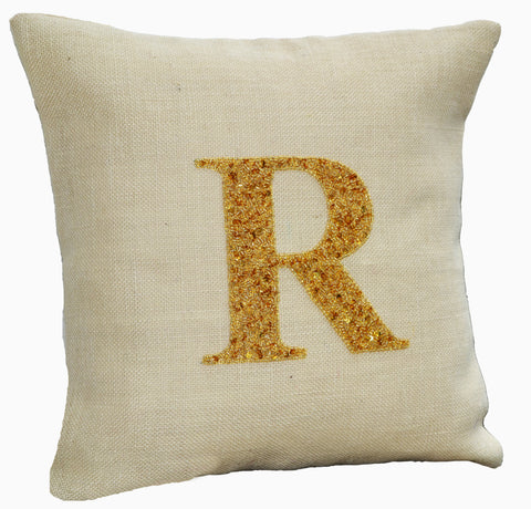Handmade ivory gold pillow with monogram