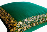 Handmade emerald green cushion with gold sequin and beads