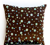 Handmade brown silk cushion cover with beaded polka dots