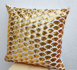 Handmade gold sequin pillows with embroidery