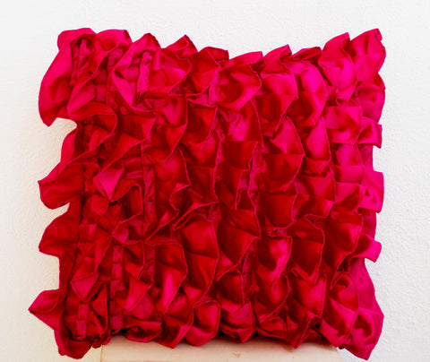Handmade hot pink throw pillow with ruffles