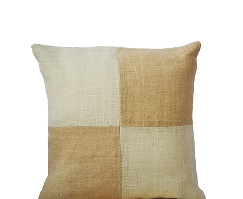 Handmade beige throw pillow cover with color block