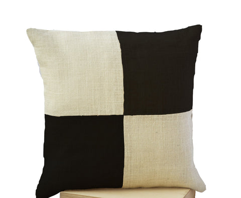 Handmade cream and black pillow cover with color block