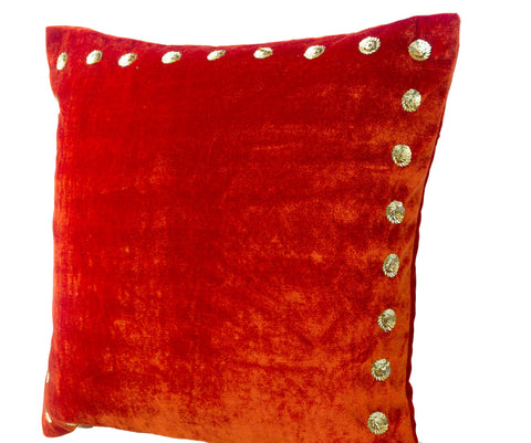 Handmade orange velvet throw pillow with gold sequin