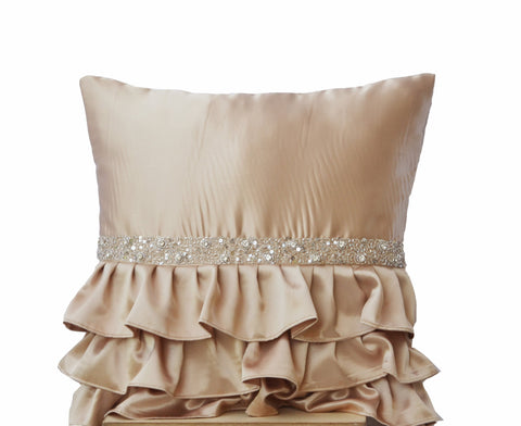Handmade beige satin throw pillow with crystal sequin