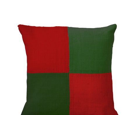 Handmade red green pillow cover with color block
