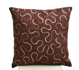 Handmade burlap brown pillow cover with gold sequin