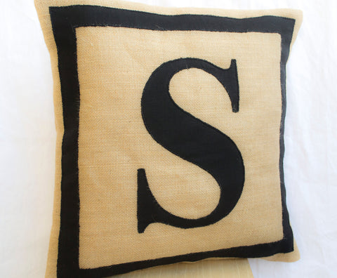 Black monogram burlap pillow