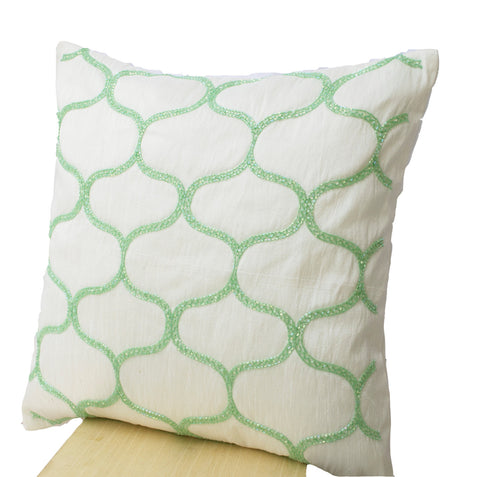 Handmade pastel green throw pillow with Sashiko pattern