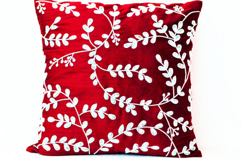 Handmade red throw pillow with beads and sequin