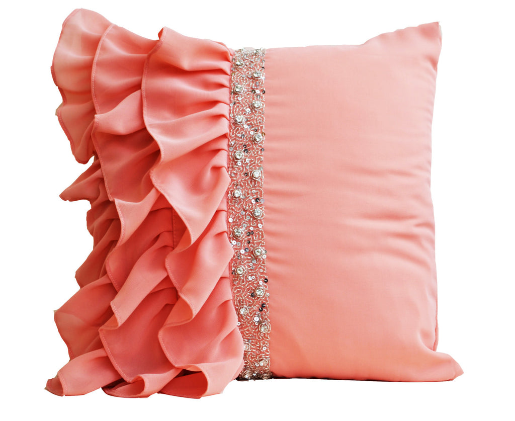 Shop Online For Handmade Peach Throw Pillow With Ruffles And Sequin Amore Beauté