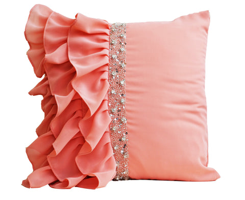 Handmade peach throw pillow with ruffles and sequin