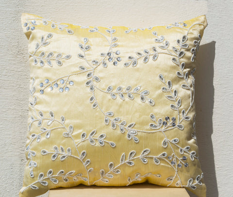 Handmade yellow throw pillow cover with bead sequin