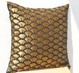 Handmade shiny gold pillow cover with deep metallic sequin