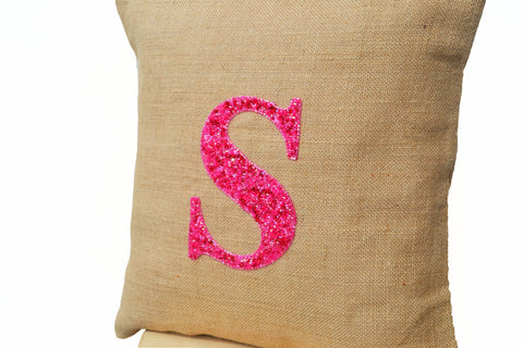 Handmade customized pillow with monogram and sequin