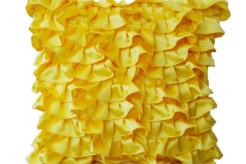 Handmade yellow satin pillow cover with ruffles