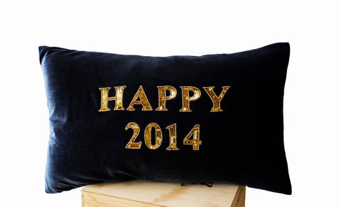 Handmade gray gold velvet cushion with happy new year greeting