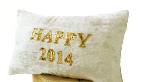 Handmade cream velvet cushion with gold sequin