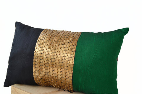 Handmade emerald green, black, gold color block pillow with silk sequin