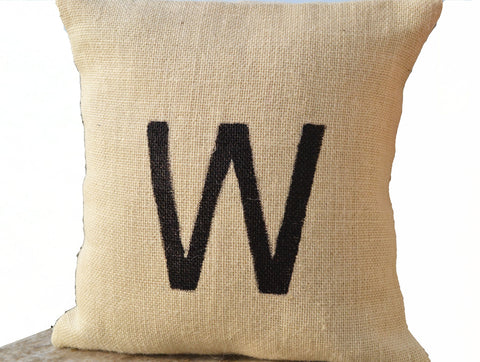 Handmade painted letter throw pillow with monogram