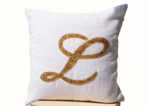 Handmade monogrammed throw pillow with sequin