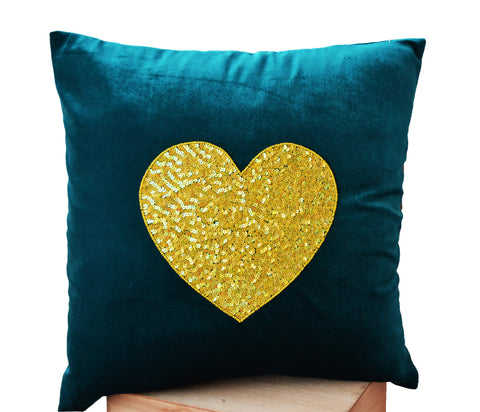 Handmade teal velvet heart throw pillow