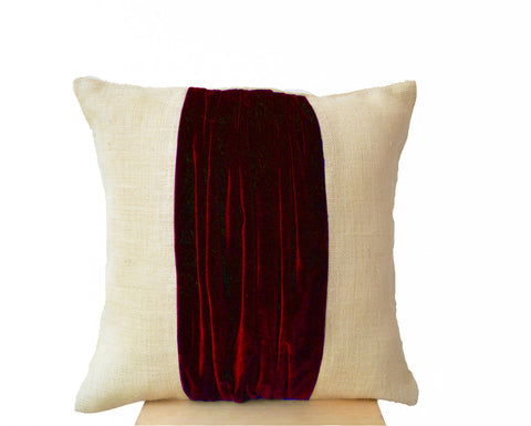 Handmade burlap throw pillow with red velvet color block