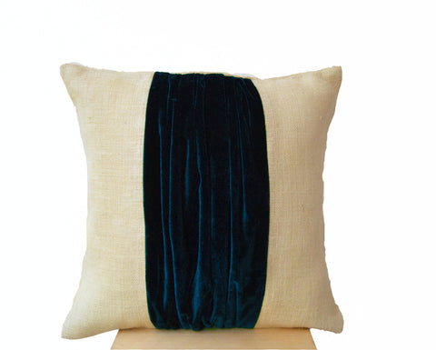 Handmade blue velvet and ivory throw pillow cover