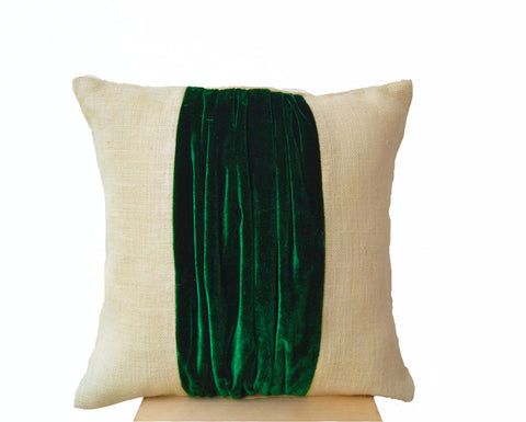 Handmade green velvet throw pillow cover with color block