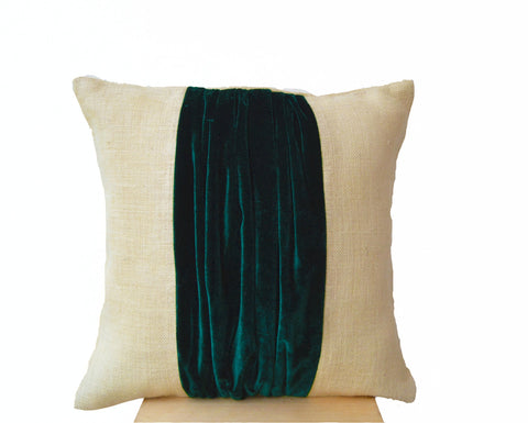 Handmade burlap throw pillow with teal velvet color block