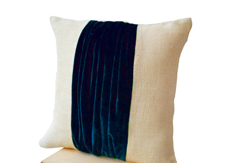 Handmade navy blue burlap pillow cover with velvet colour block