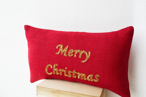 Handmade gold cushion with greeting and sequin