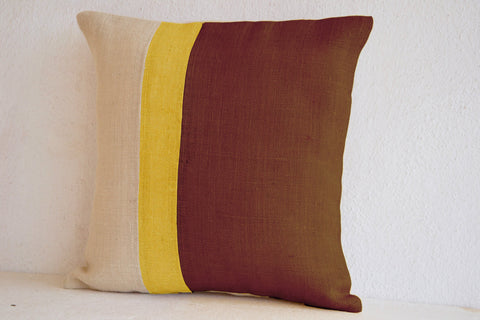 Handmade taupe throw pillows with color block