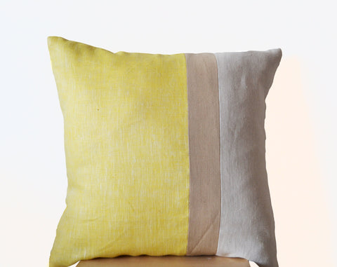 Handmade yellow throw pillows and decorative cushion covers