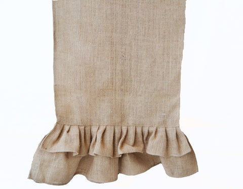 Burlap ruffled table runner for cottage table decor or burlap decor