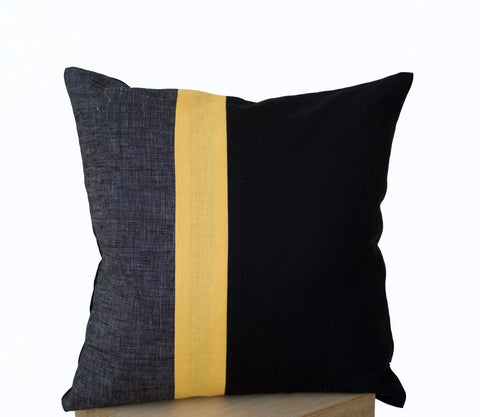 Handmade geometric accent pillows with bold stripes