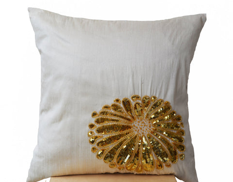 Handmade ivory cushion cover with gold sequin flower
