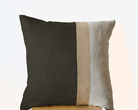 Handmade gray throw pillow with color block
