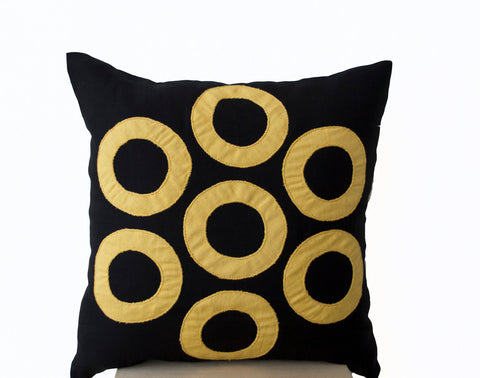 Handmade black yellow throw pillows with geometric design