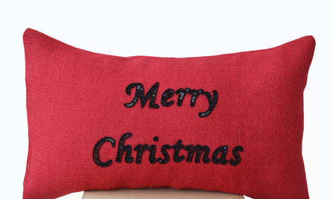 Handmade red burlap Christmas pillows with sequin