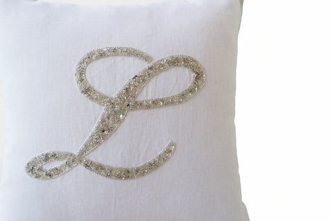 Handmade monogrammed throw pillow cover
