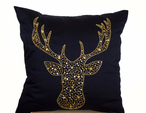 Deer Pillows - Animal pillow stag embroidered in gold sequin - Navy Blue Silk pillows -Moose pillow - Gold pillows- Christmas pillows 18x18